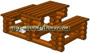 Стол и скамейки из оцилиндрованного бревна своими руками